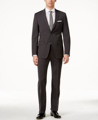 Calvin Klein Men's Extra Slim-Fit Charcoal Pinstripe Suit
