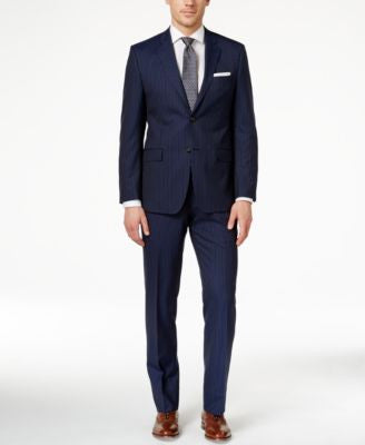 Lauren Ralph Lauren Men's Big & Tall Slim-Fit Navy Striped Suit