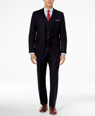 Lauren Ralph Lauren Navy Vested Solid Slim-Fit Suit
