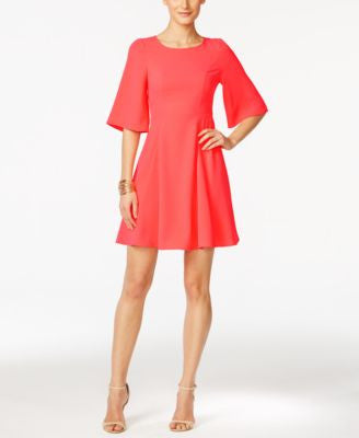 CeCe Emery Flutter-Sleeve A-Line Dress
