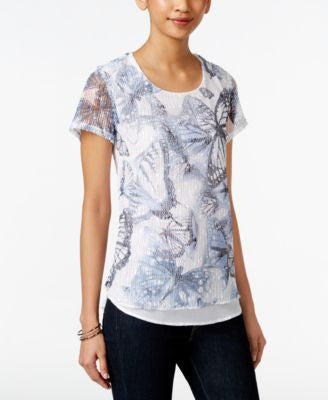 Style & Co. Floral Printed Mesh Top, Only at Vogily