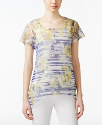 Style & Co. Printed Mesh-Detail Top, Only at Vogily