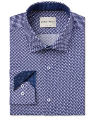 Con.Struct Men's Slim-Fit Chevron-Print Dress Shirt