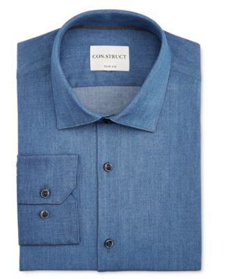 Con.Struct Men's Slim-Fit Denim Dress Shirt