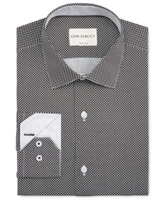 Con.Struct Men's Slim-Fit Diamond-Print Dress Shirt