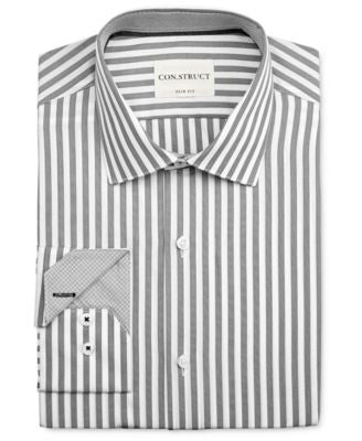 Con.Struct Men's Slim-Fit Pewter Stripe Dress Shirt