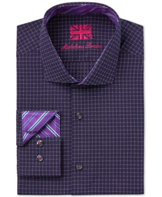 Michelsons of London Men's Slim-Fit Box-Grid Print Dress Shirt