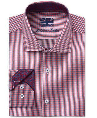 Michelsons of London Men's Slim-Fit Red Checked Dress Shirt
