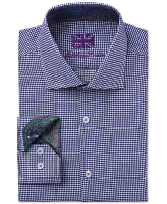 Michelsons of London Men's Slim-Fit Micro-Check Dress Shirt