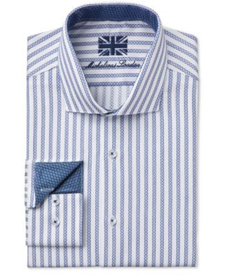 Michelsons of London Men's Slim-Fit Bengal-Striped Dobby Dress Shirt