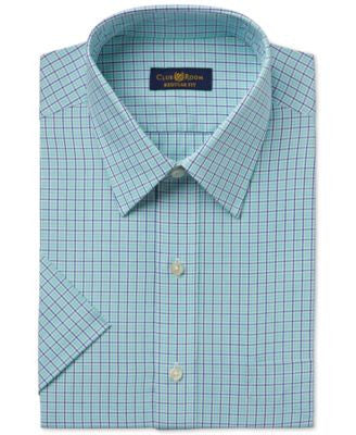 Club Room Men's Easy Care Mint Box Check Short-Sleeve Dress Shirt, Only at Vogily