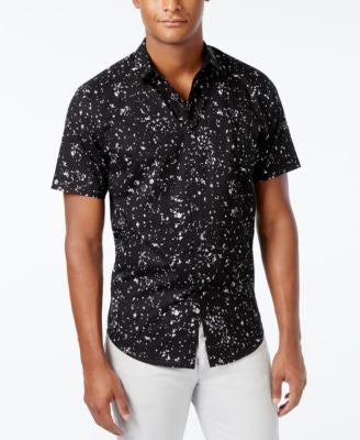 INC International Concepts Men's James Popcorn-Print Short-Sleeve Shirt, Only at Vogily