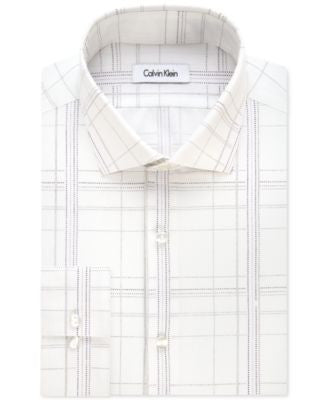 Calvin Klein Men's Fitted Infinite-Stretch Purple Plaid Dress Shirt