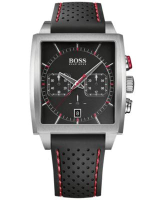 BOSS Hugo Boss Men's Chronograph Black Silicone Strap Watch 39x40mm 1513356