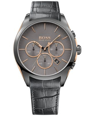BOSS Hugo Boss Men's Chronograph Onyx Gray Leather Strap Watch 44mm 1513366