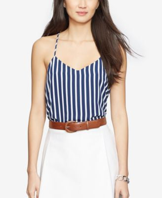 Lauren Ralph Lauren Striped V-Neck Tank Top