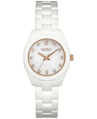 Caravelle New York by Bulova Women's White Ceramic Bracelet Watch 28mm 45L159