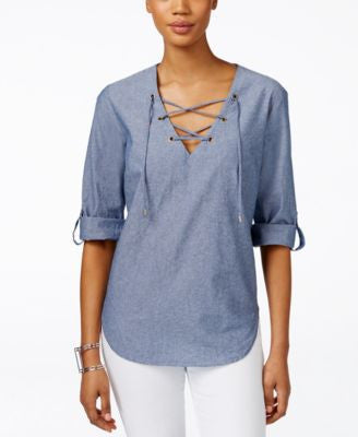 Karen Kane Lace-Up Roll-Tab-Sleeve Blouse