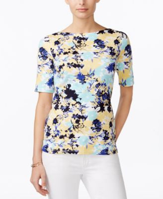 Charter Club Pima Cotton Floral-Print Tee, Only at Vogily