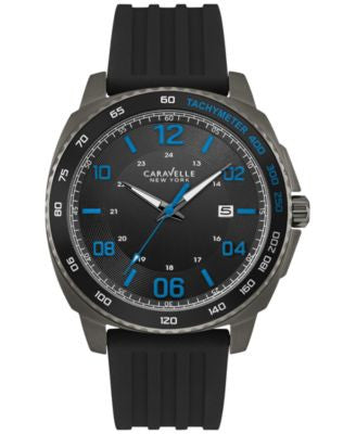Caravelle New York by Bulova Men's Sport Black Silicone Strap Watch 44mm 45B144