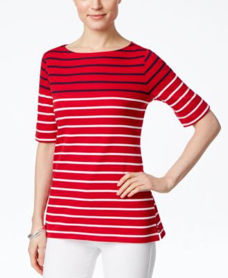 Karen Scott Striped Short-Sleeve Top, Only at Vogily
