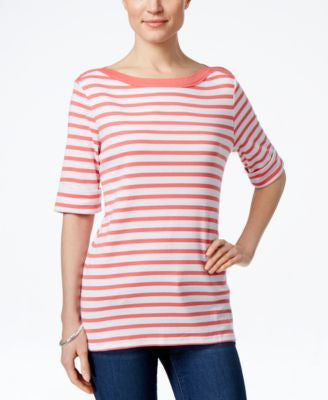 Karen Scott Petite Elbow-Sleeve Boat-Neck Top, Only at Vogily