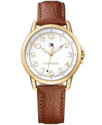 Tommy Hilfiger Women's Casual Sport Brown Leather Strap Watch 36mm 1781654
