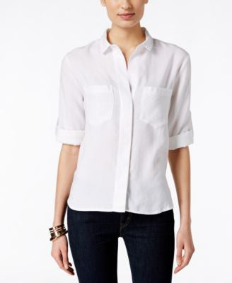 Olive + Sloane Split-Back White Button-Up Shirt, Only at Vogily