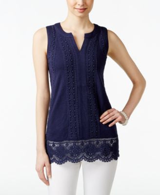 Charter Club Petite Sleeveless Crocheted Top, Only at Vogily