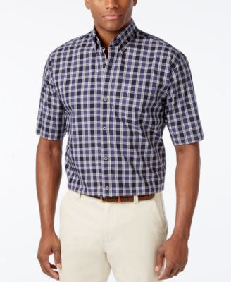 Cutter & Buck Men's Big & Tall Nebula Check Short-Sleeve Shirt
