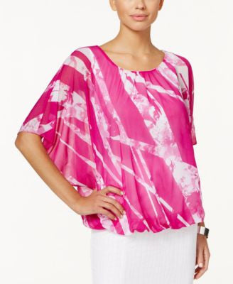 Alfani Petite Printed Bubble-Hem Blouse, Only at Vogily