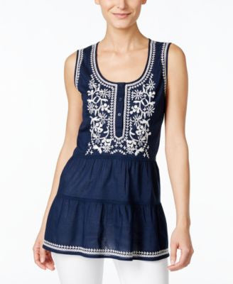 Style & Co. Petite Sleeveless Embroidered Peasant Blouse, Only at Vogily