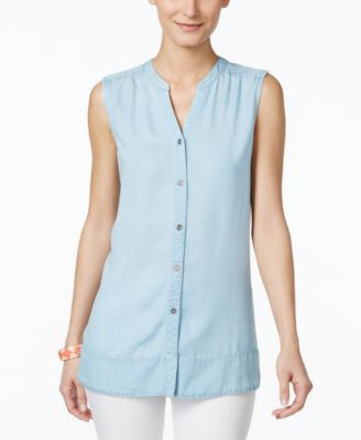 Style & Co. Petite Sleeveless Button-Down Denim Top, Only at Vogily