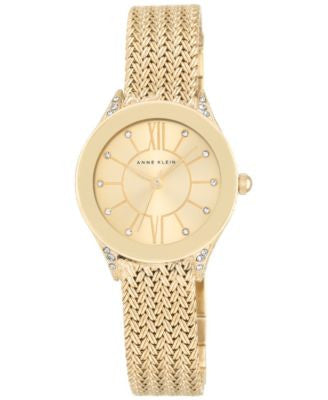 Anne Klein Women's Gold-Tone Stainless Steel Mesh Bracelet Watch 30mm AK/2208CHGB