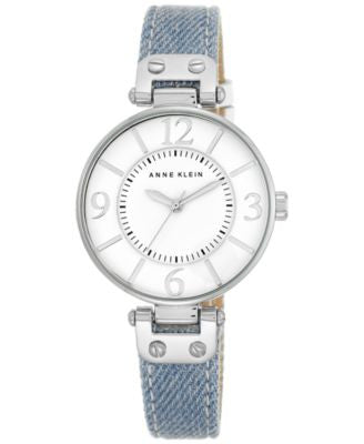 Anne Klein Women's Light Denim Strap Watch 34mm 10/9169WTLD