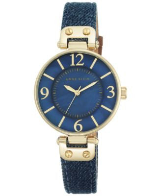 Anne Klein Women's Dark Denim Strap Watch 34mm 10/9168BMDD