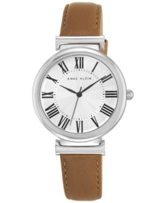 Anne Klein Women's Dark Tan Leather Strap Watch 38mm AK-2137SVDT