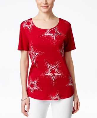 Karen Scott Embellished Star-Print T-Shirt, Only at Vogily
