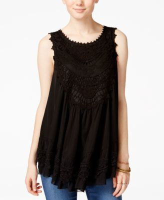 American Rag Tiered Crochet-Trim Sleeveless Blouse, Only at Vogily