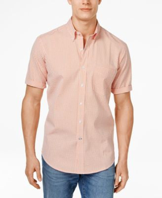 Club Room Big and Tall Men's Kendall Gingham Short-Sleeve Shirt, Only at Vogily