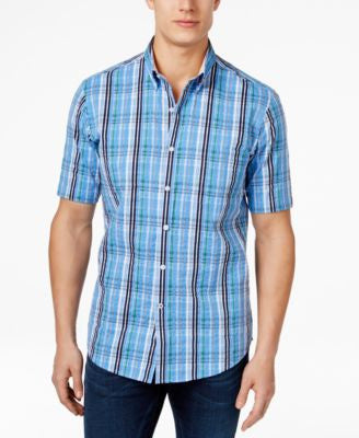 Club Room Big and Tall Men's Warwick Plaid Short-Sleeve Shirt, Only at Vogily