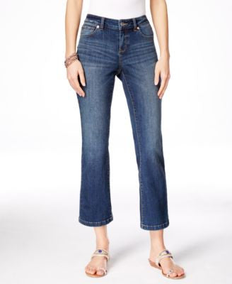 INC International Concepts Cropped Indigo Wash Flare-Leg Jeans, Only at Vogily