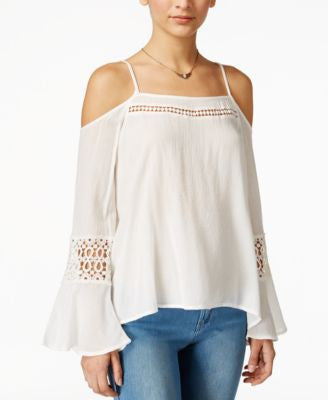Jessica Simpson Juniors' Blaire Cold-Shoulder Peasant Top