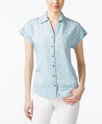 Style & Co. Printed Short-Sleeve Denim Shirt, Only at Vogily