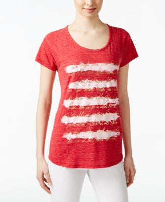 Style & Co. Burnout Striped Graphic T-Shirt, Only at Vogily