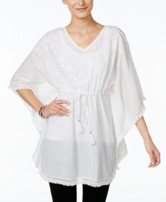 Style & Co. Cinched-Waist Embroidered Poncho, Only at Vogily