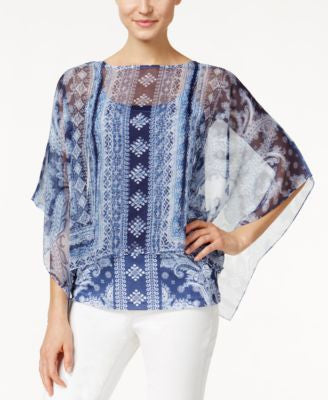 Style & Co. Bandana-Print Sheer Poncho, Only at Vogily