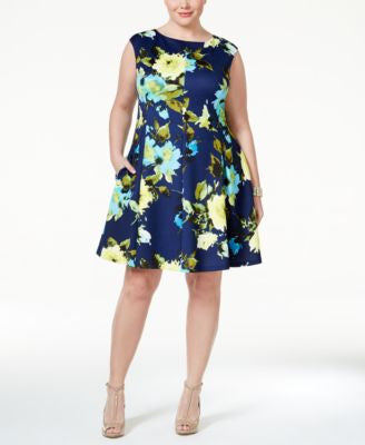 Jessica Howard Plus Size Cap-Sleeve Floral-Print Fit & Flare Dress