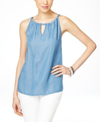 INC International Concepts Denim Halter Top, Only at Vogily