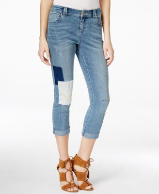 INC International Concepts Cropped Patchwork Jeans, Only at Vogily